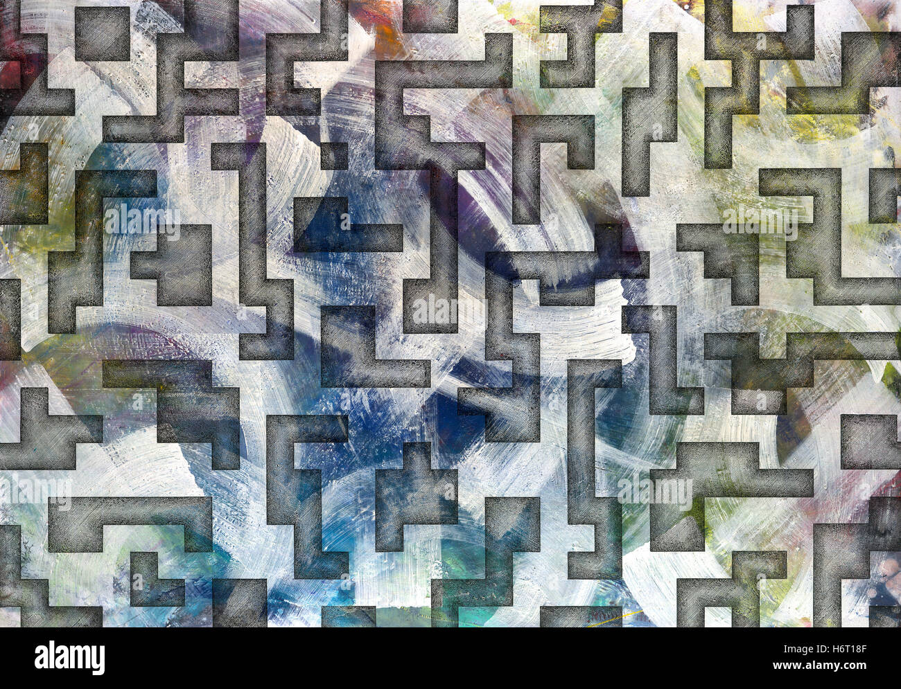 lined geometric maze crosshatch hatching line art contrast coloured colourful gorgeous multifarious richly coloured - Stock Image