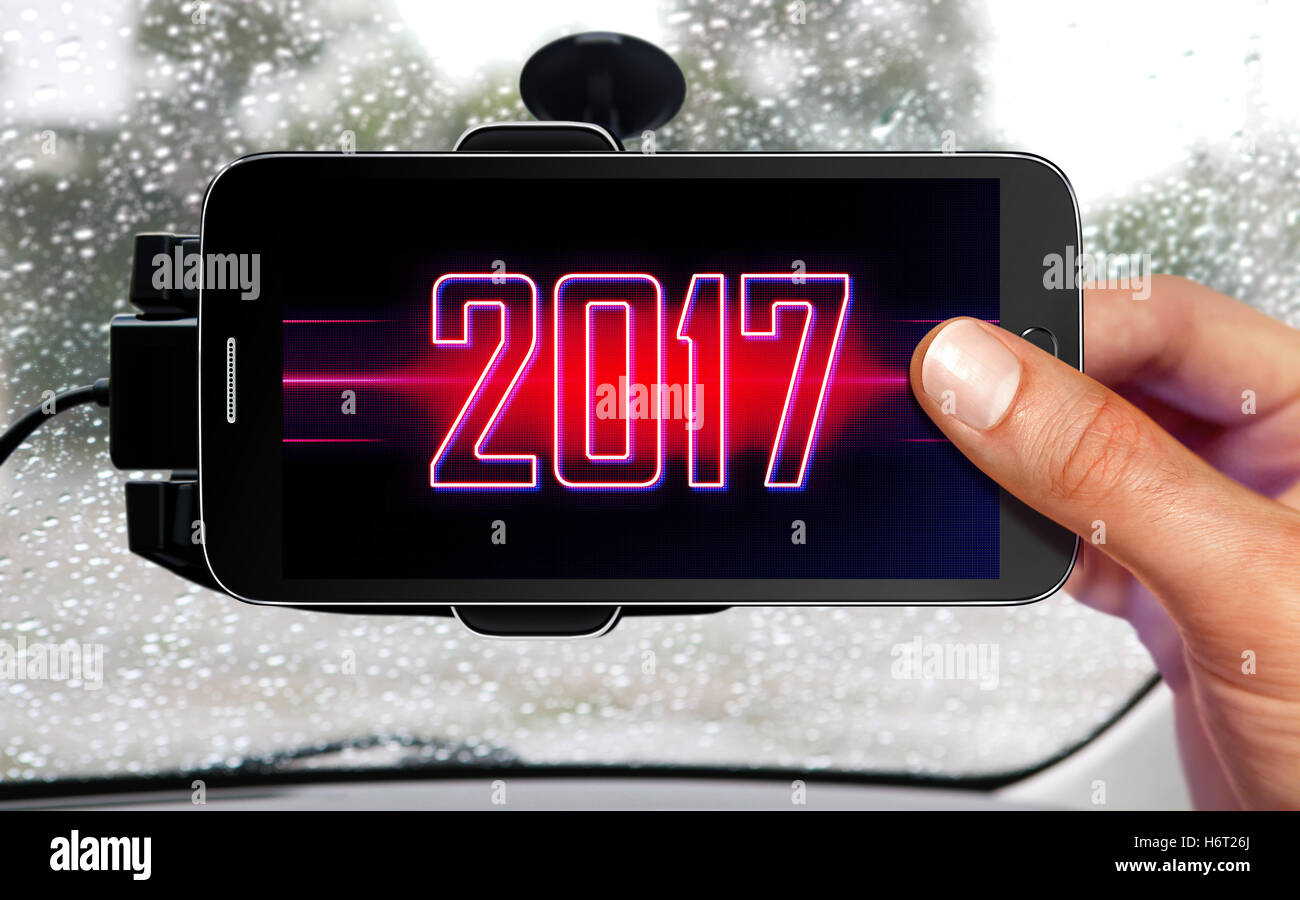 new portable device for navigation of car - Stock Image