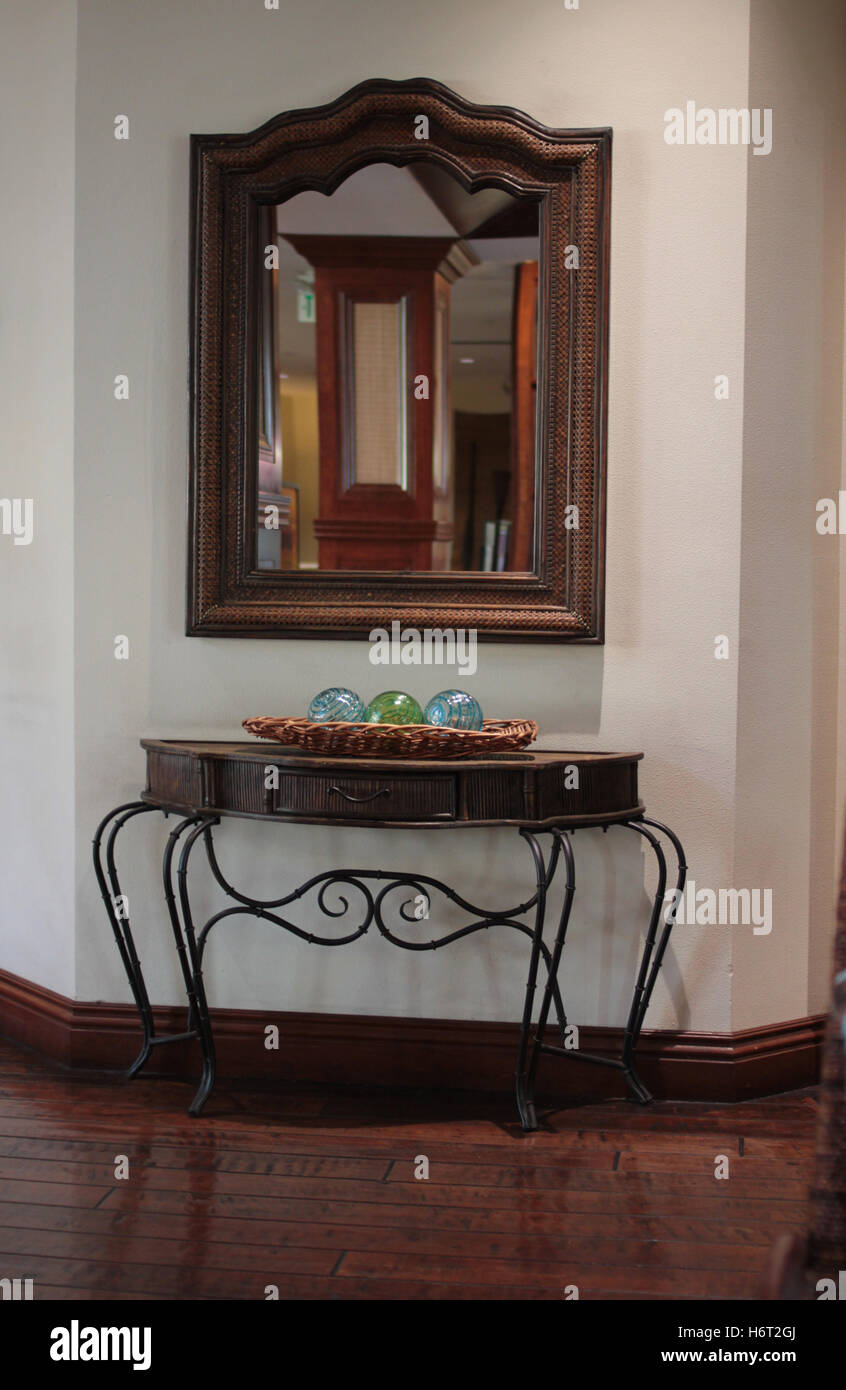 elegant table and mirror - Stock Image