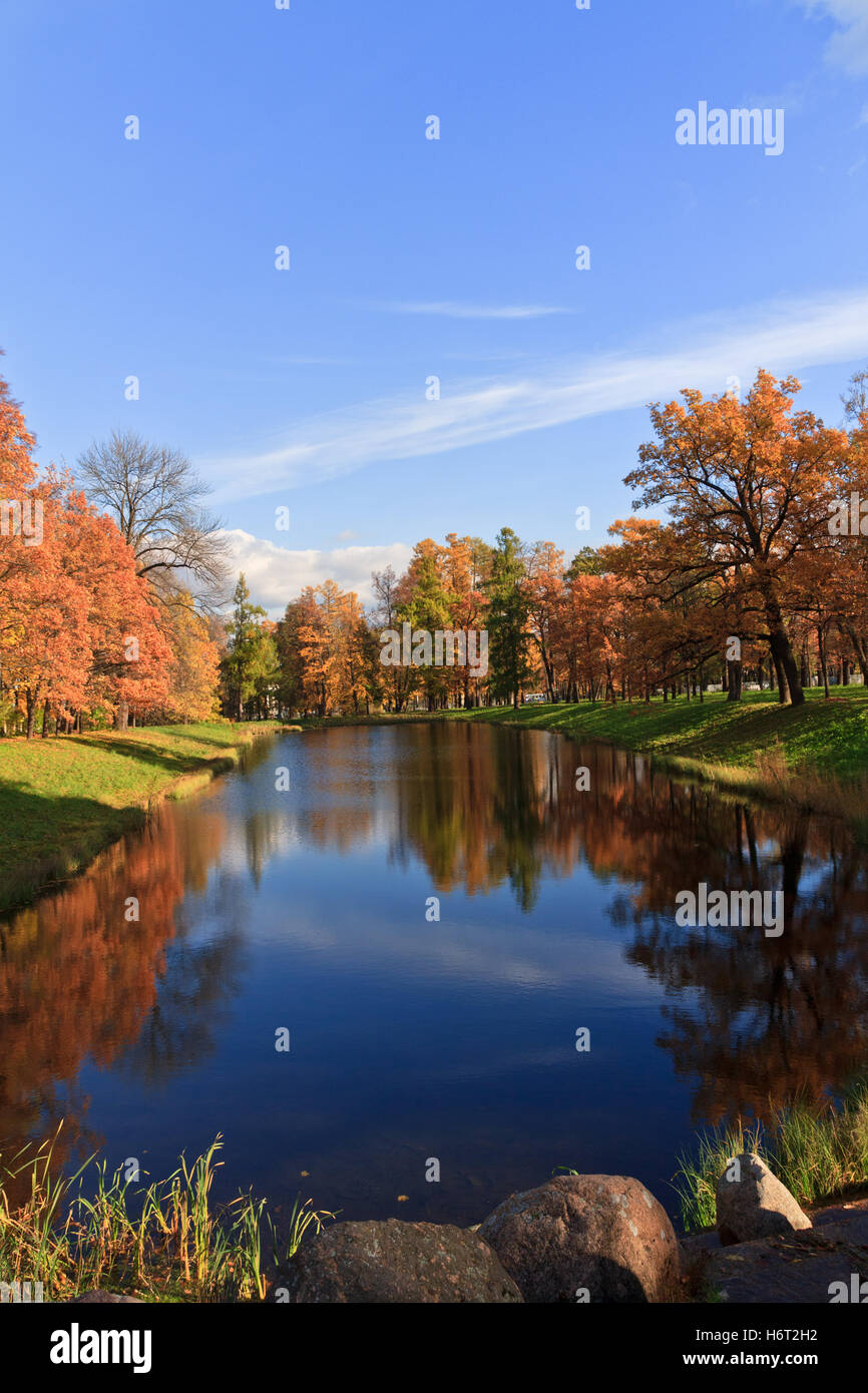 park reflection creative fresh water lake inland water water landscape scenery countryside nature love in love fell - Stock Image