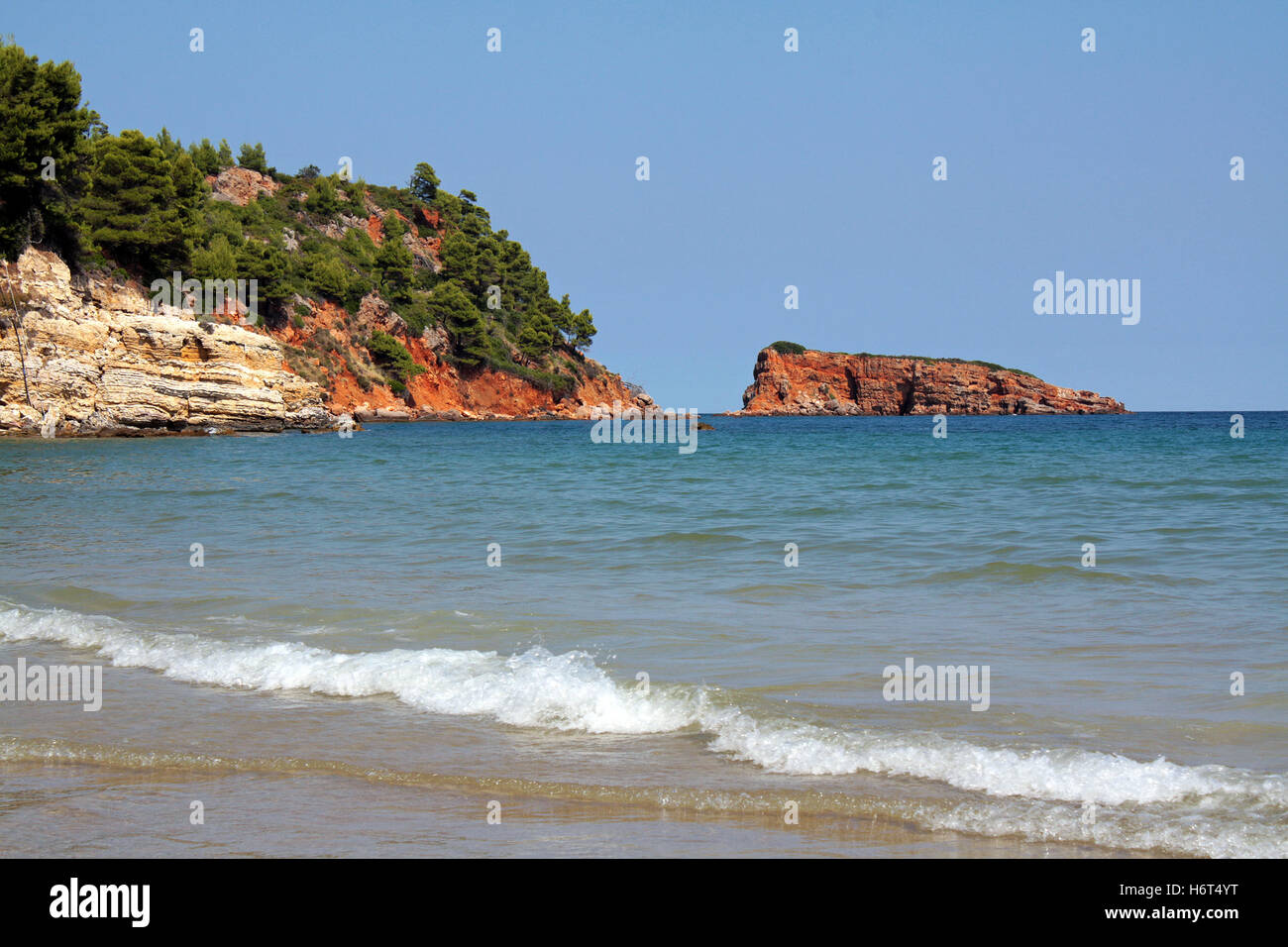 blue tree trees holiday vacation holidays vacations shine shines bright lucent light serene luminous sunny greece Stock Photo