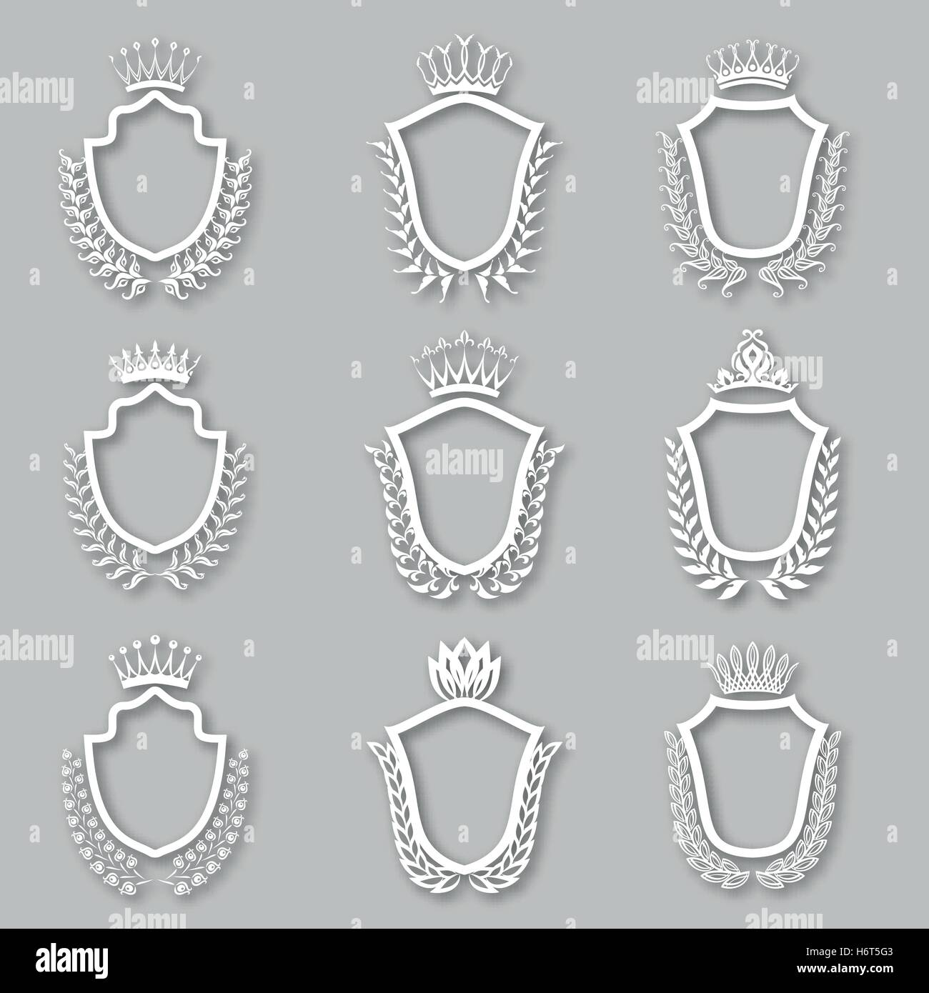 Set of vector laurel wreaths, shields - Stock Image