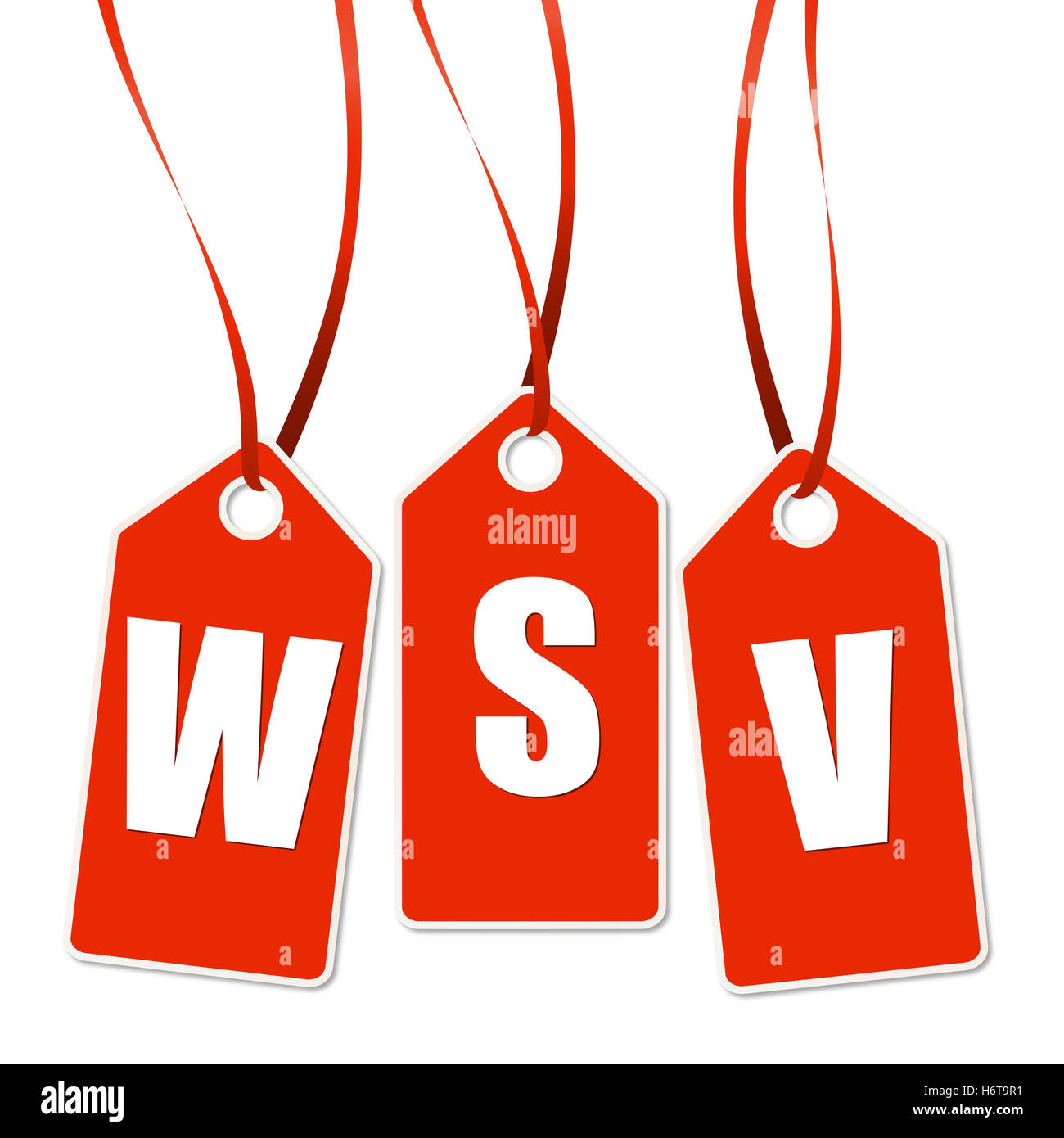3 red pendant with wsv - Stock Image
