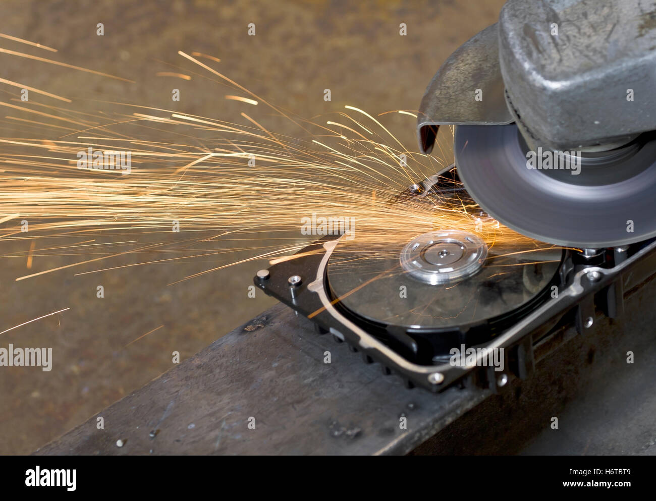 industry polisher angle grinder PC computers computer tool calculator industry science engineering beam heat rusty - Stock Image