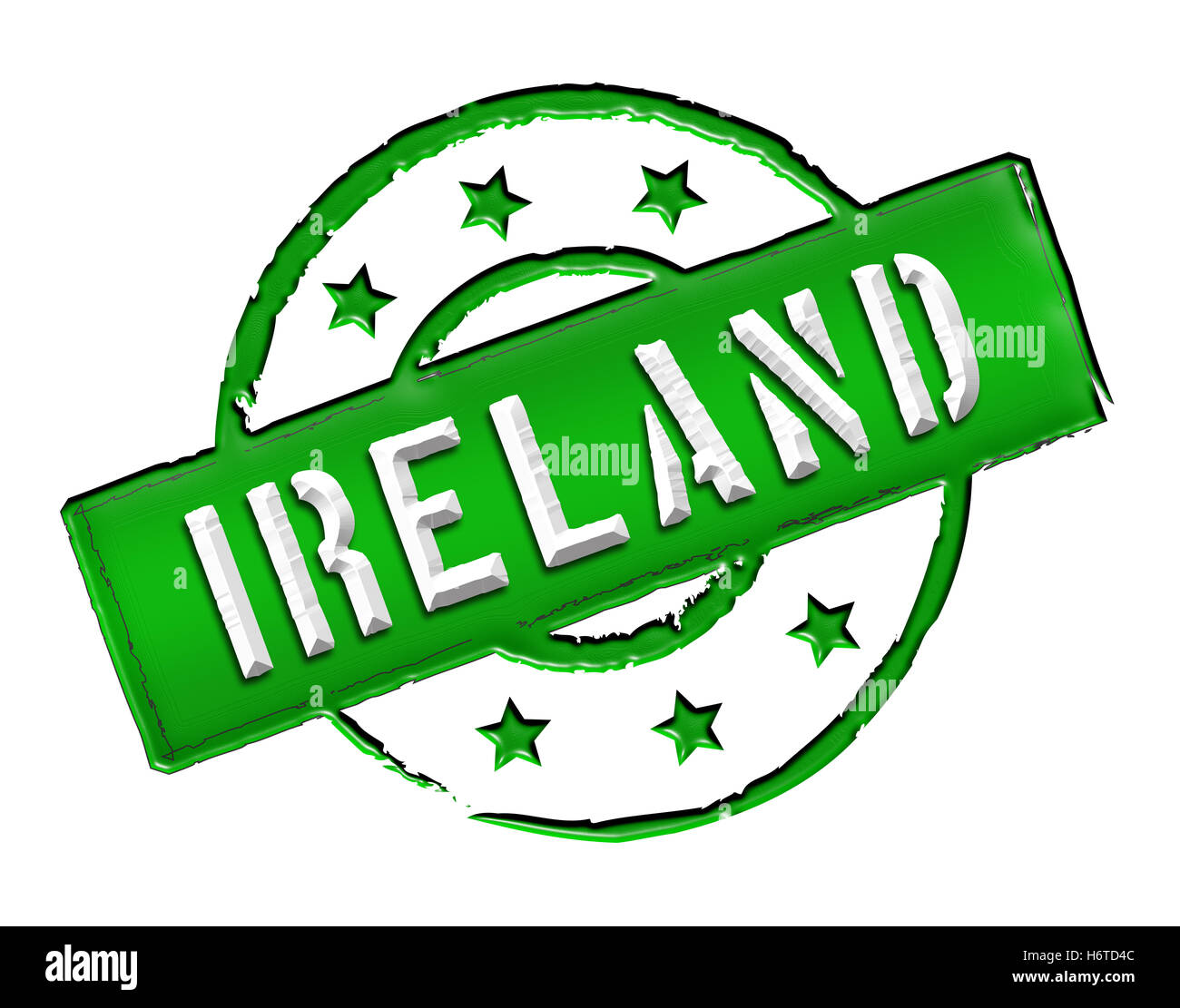 ireland isolated army england caution important attention abstract ireland queen island military retro label englisch - Stock Image
