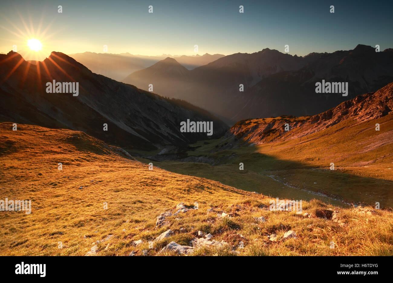 beautiful sunrise in high Alps, Austria - Stock Image