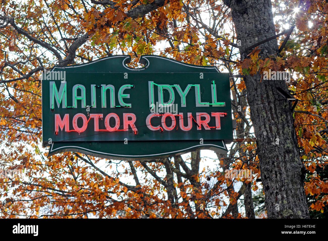 Maine Idyll Motor Court sign Route one Freeport Maine New England USA - Stock Image
