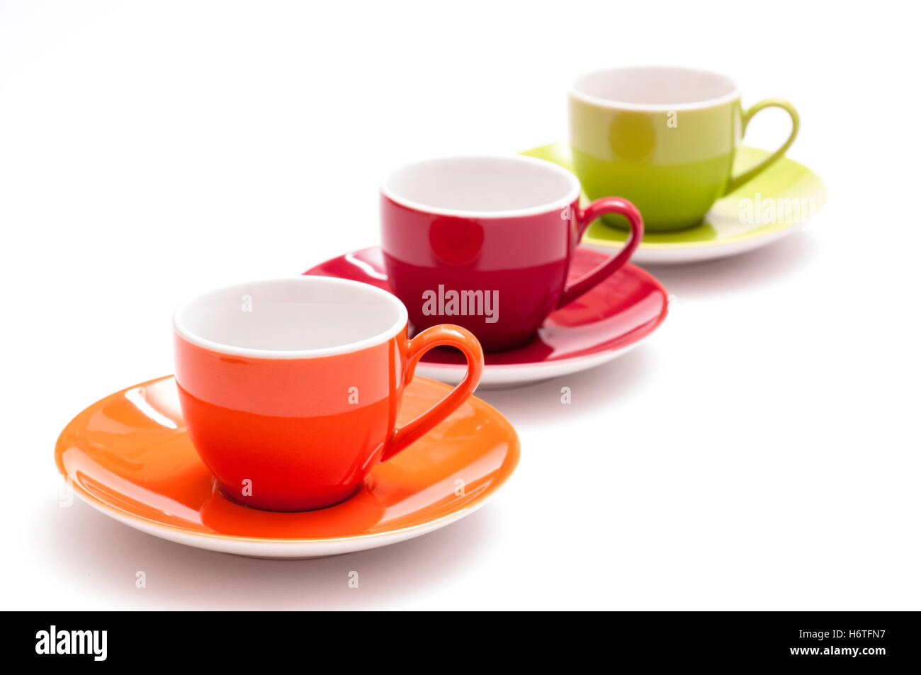 three colorful coffee cups in a row stock photo 124699715 alamy
