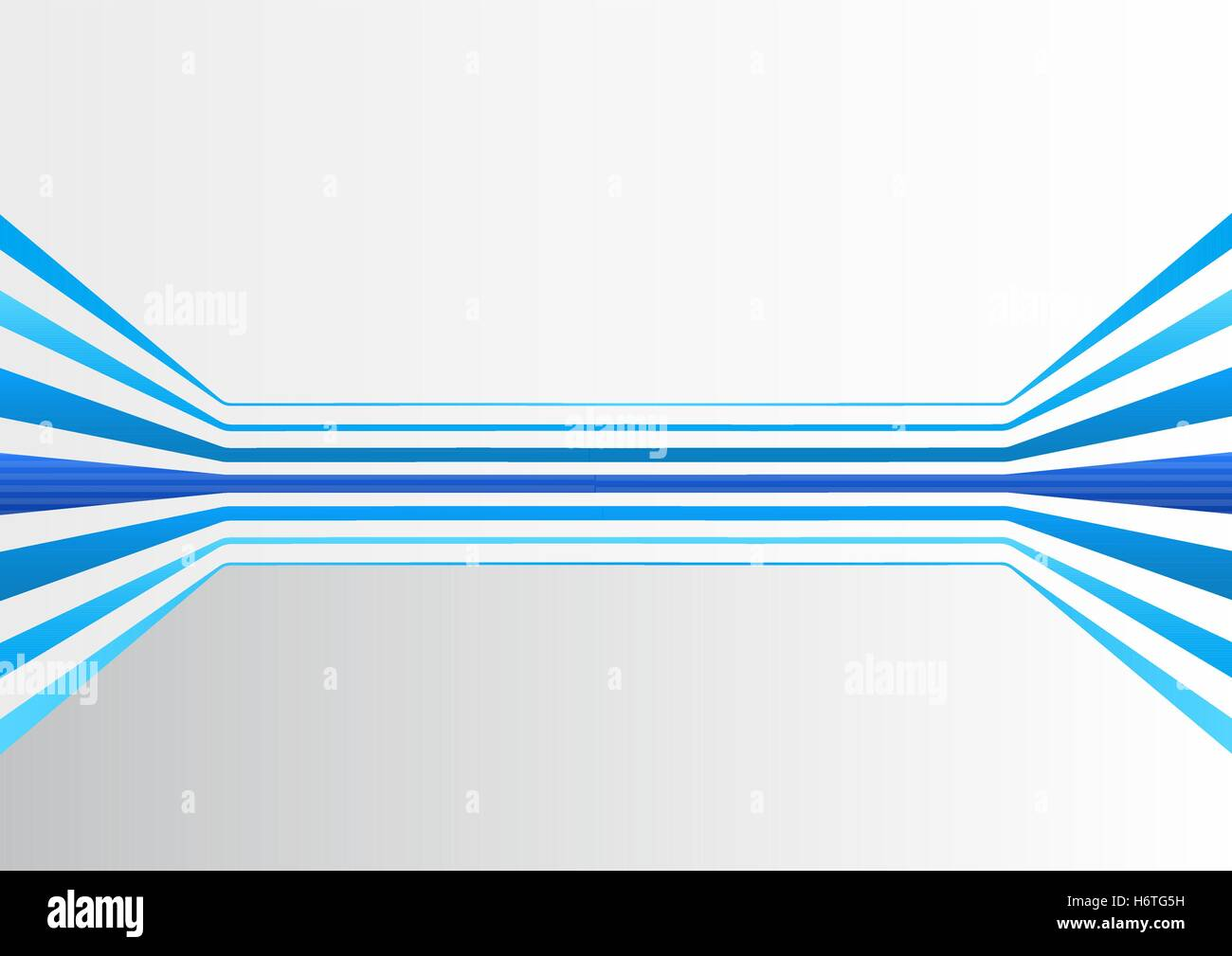 Generic background with multiple blue colored horizontally expanding lines forming a virtual room - Stock Image