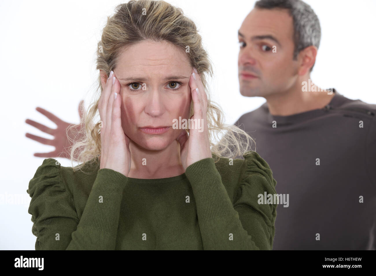 blonde, crazy, anxious, afraid, dispute, homey, domestic, chill, couple, pair, - Stock Image