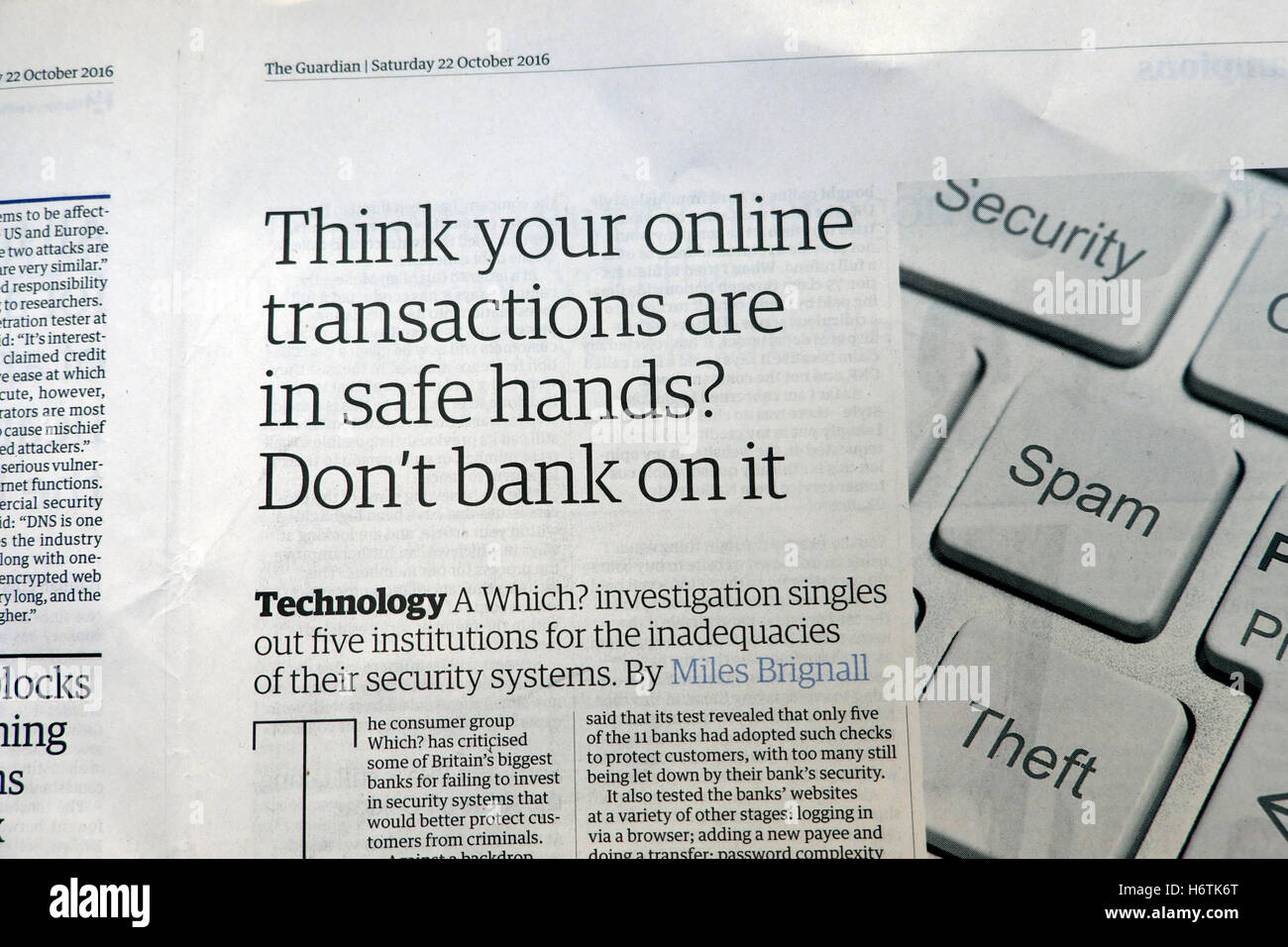 'Think your online transactions are in safe hands?  Don't bank on it'  Guardian newspaper article 2016 - Stock Image