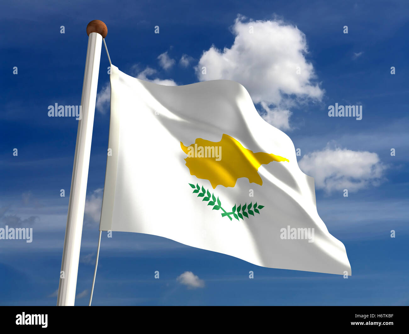 cloud, stream, flag, pole, day, during the day, cyprus, nobody, unity, - Stock Image