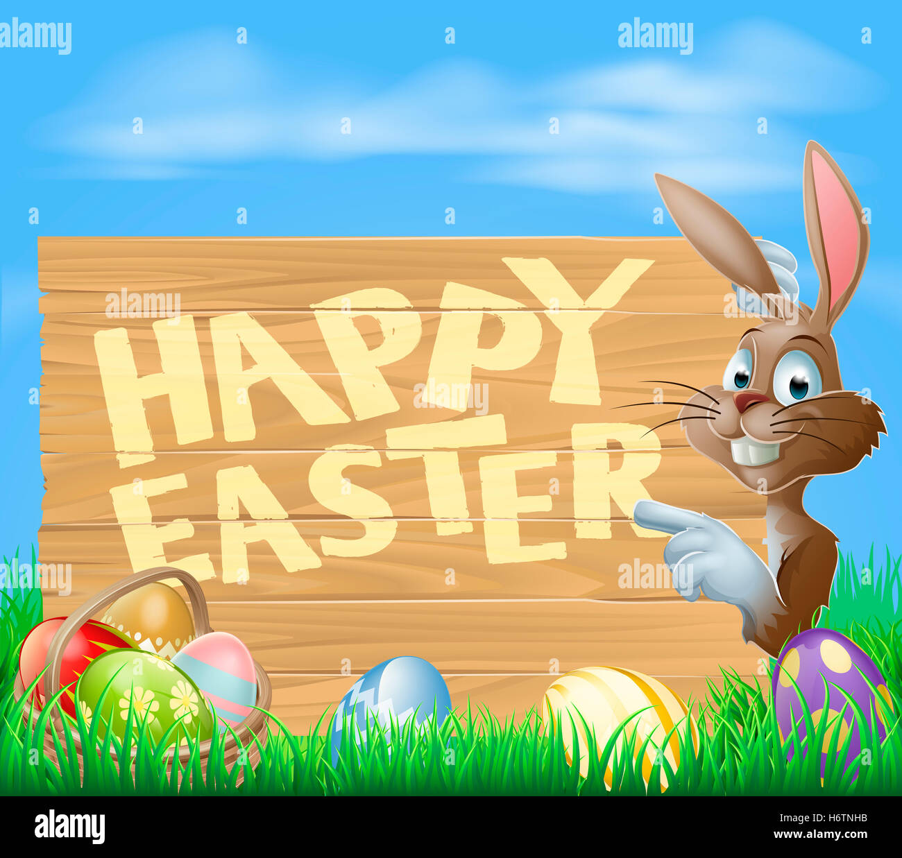 blue board finger sweet isolated wood field easter poster spring bouncing bounces hop skipping frisks jumping jump - Stock Image