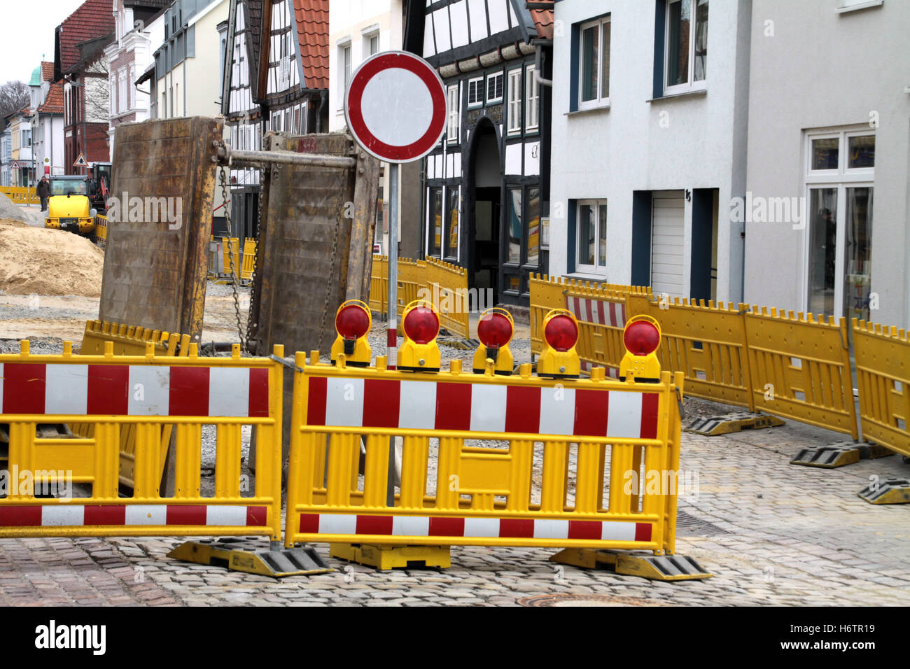 build barrier construction work lock road construction construction site build city town blank european caucasian - Stock Image