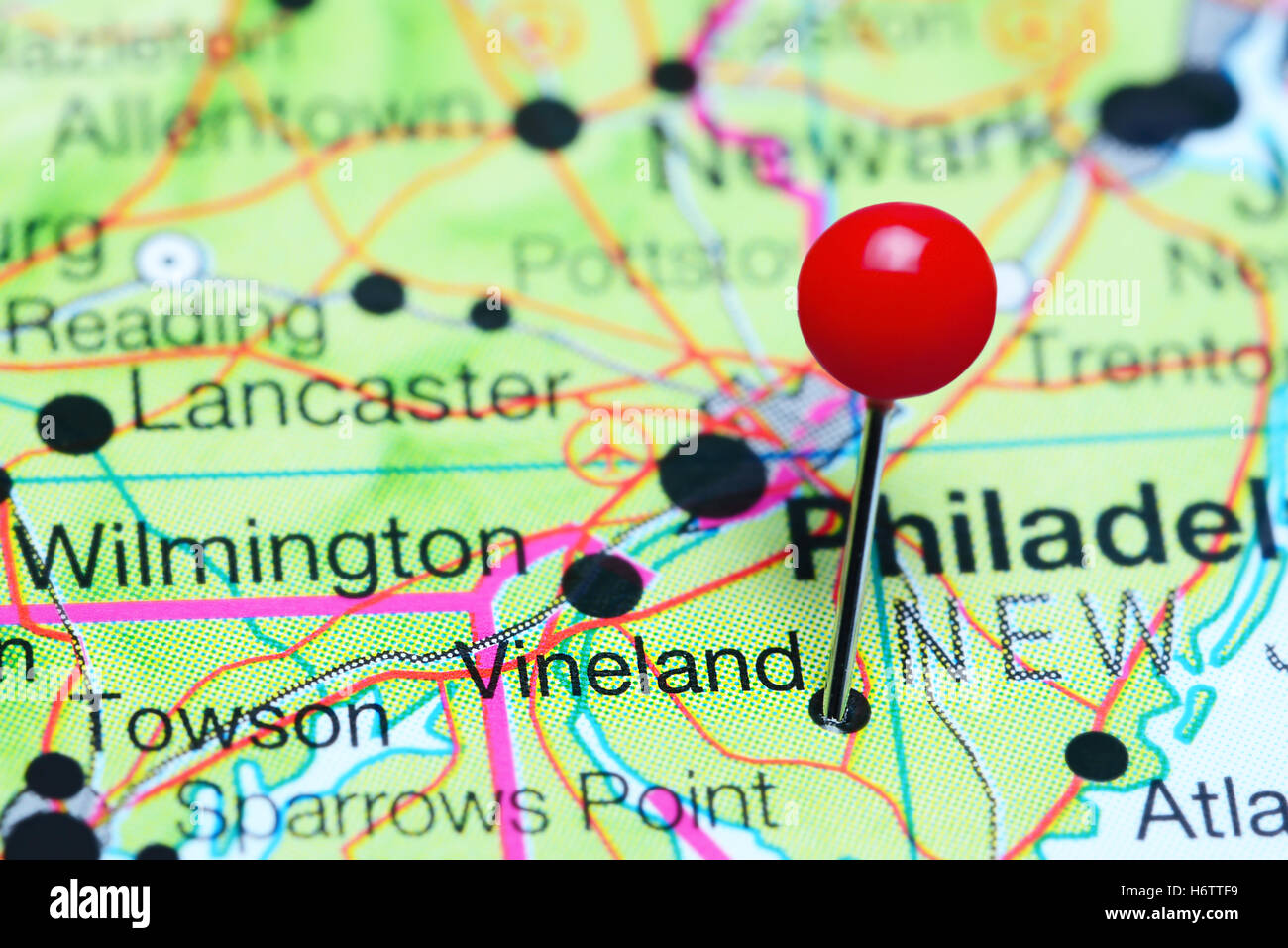 Vineland Pinned On A Map Of New Jersey Usa Stock Photo 124706605