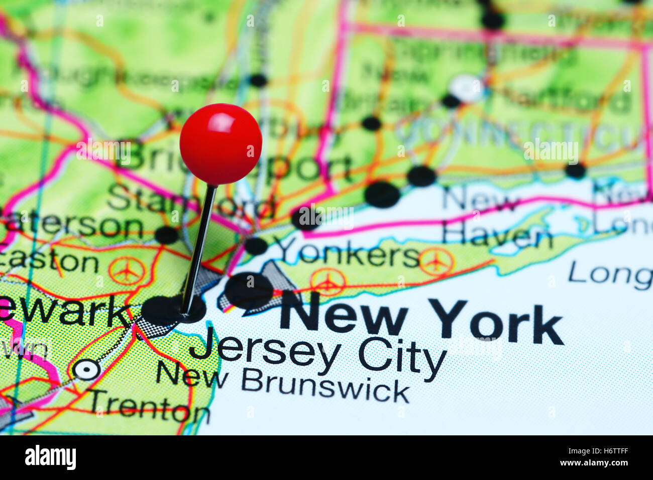 New Jersey On Map Of Usa.Jersey City Pinned On A Map Of New Jersey Usa Stock Photo