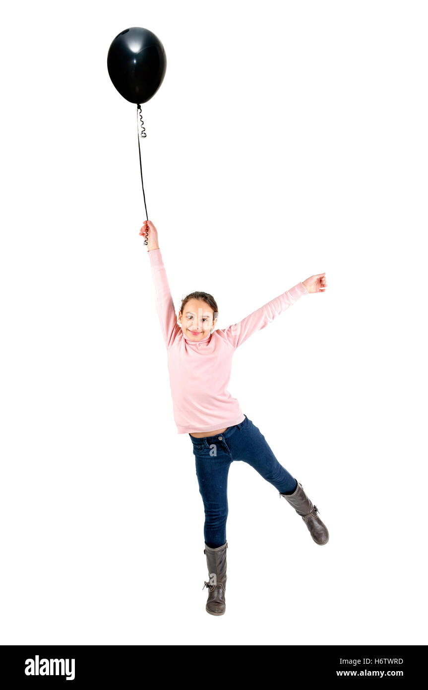 beautiful beauteously nice spring bouncing bounces hop skipping frisks jumping jump balloons ballon childhood delighted - Stock Image
