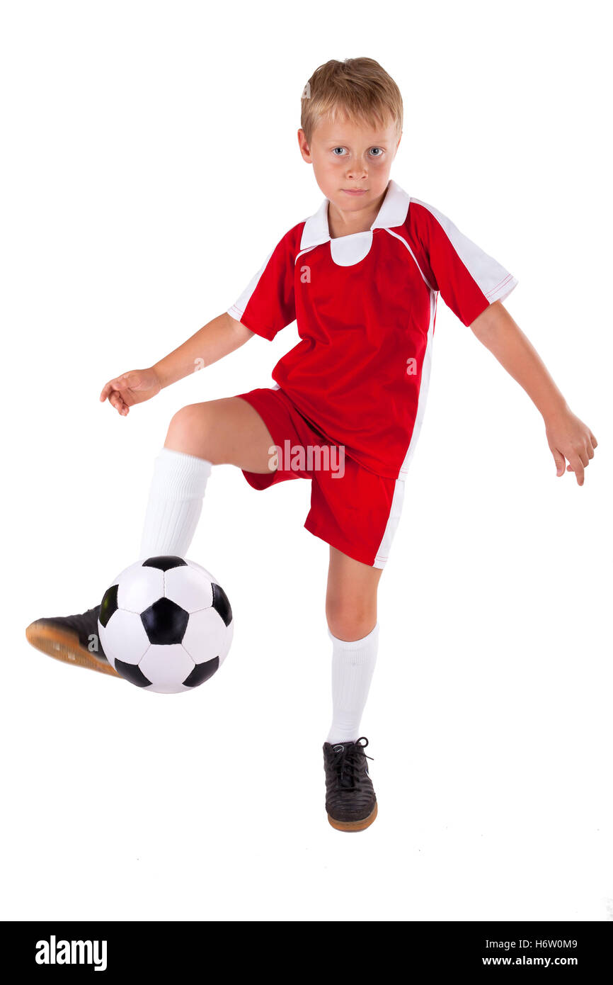 ball shot tricot young younger sport sports soccer football child sport sports ball portrait blank european caucasian - Stock Image