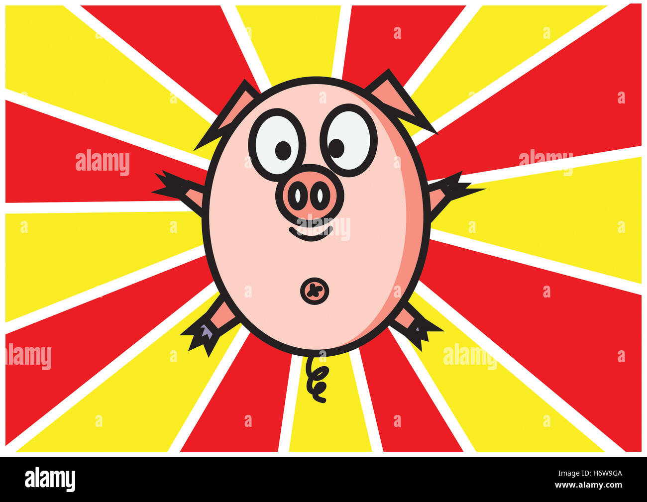 wild boar pig funny delighted unambitious enthusiastic merry radiant with joy joyful glad carefree happy cheerfully - Stock Image