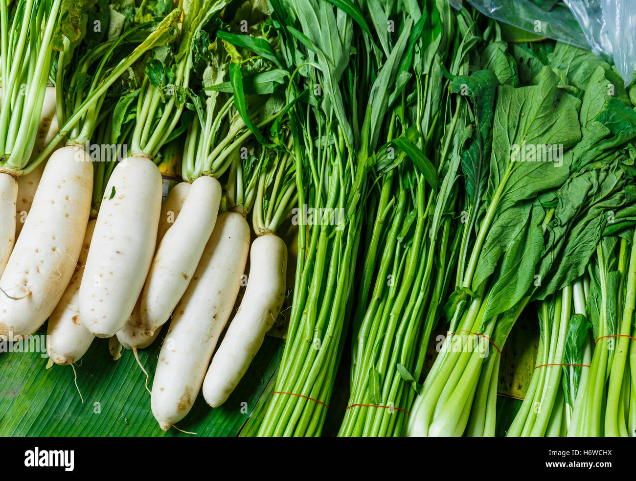 food aliment sell agriculture farming harvest root vegetable chinese stalk stem radish product celery organic chop Stock Photo