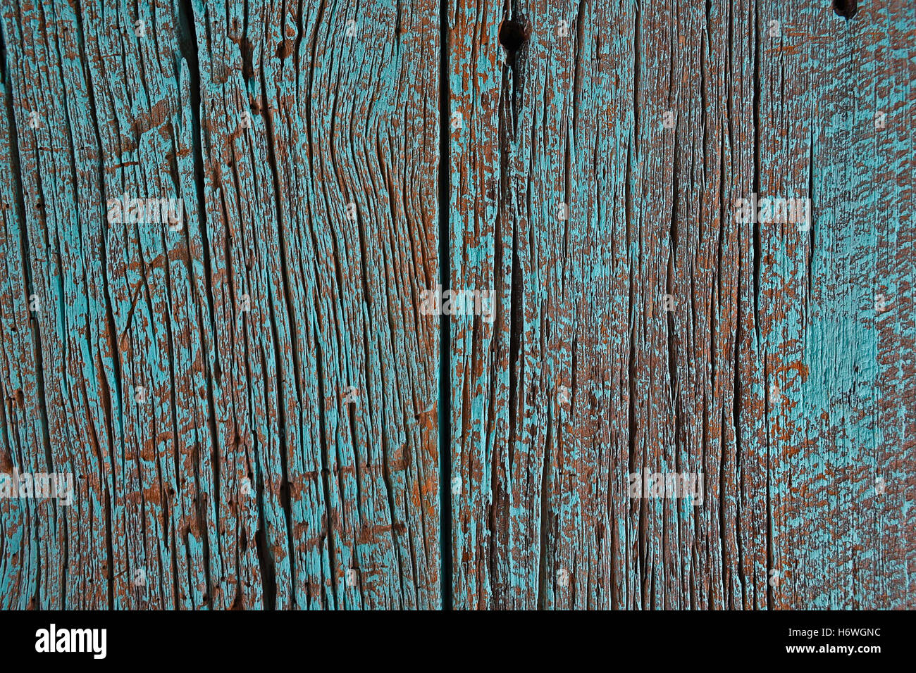 close up of turquoise painted barn wood - Stock Image