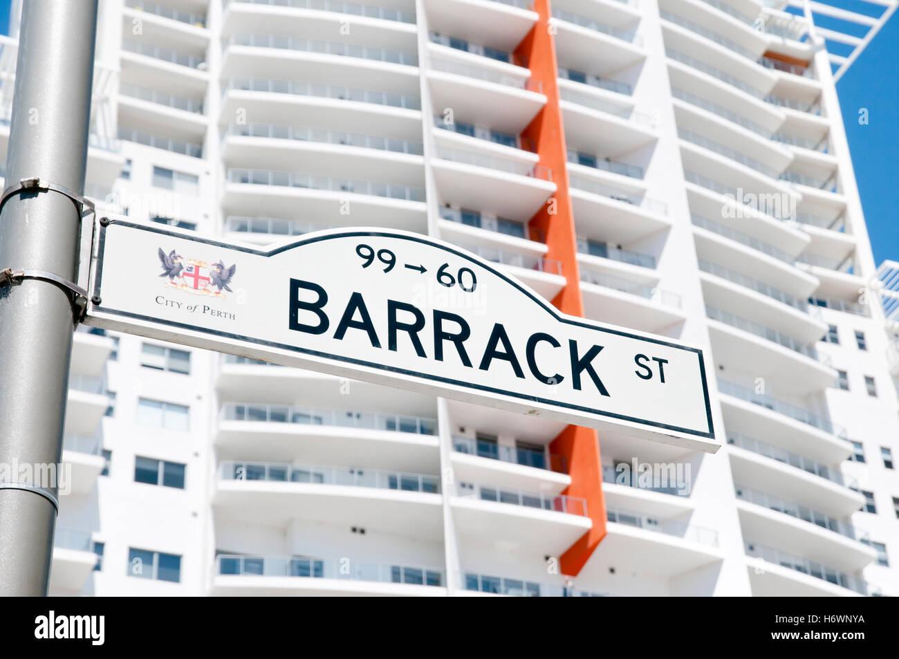 Barrack Street Sign - Perth - Australia - Stock Image