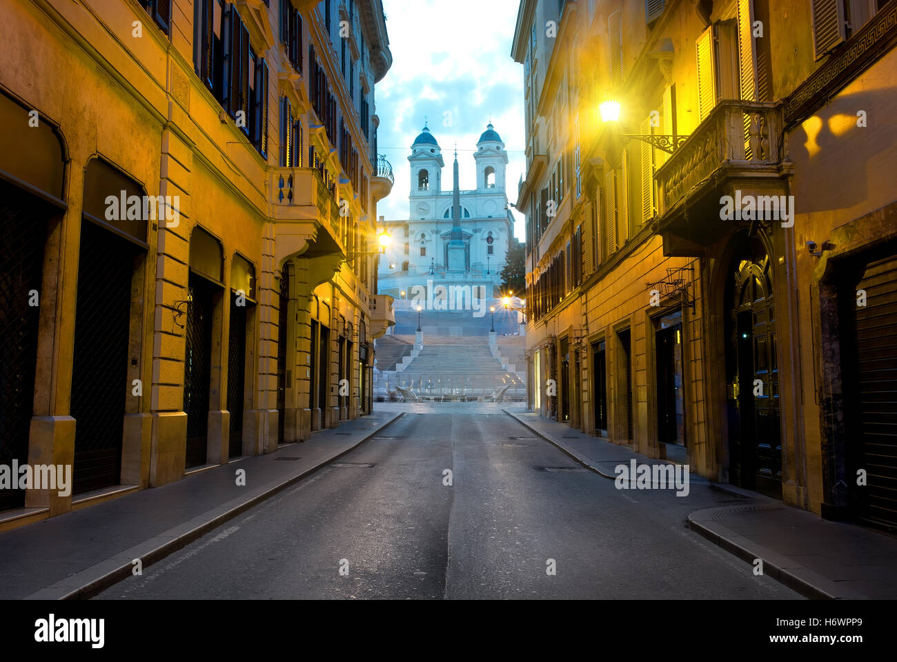 Famous Spanish Stairs and roman street in the morning, Italy - Stock Image