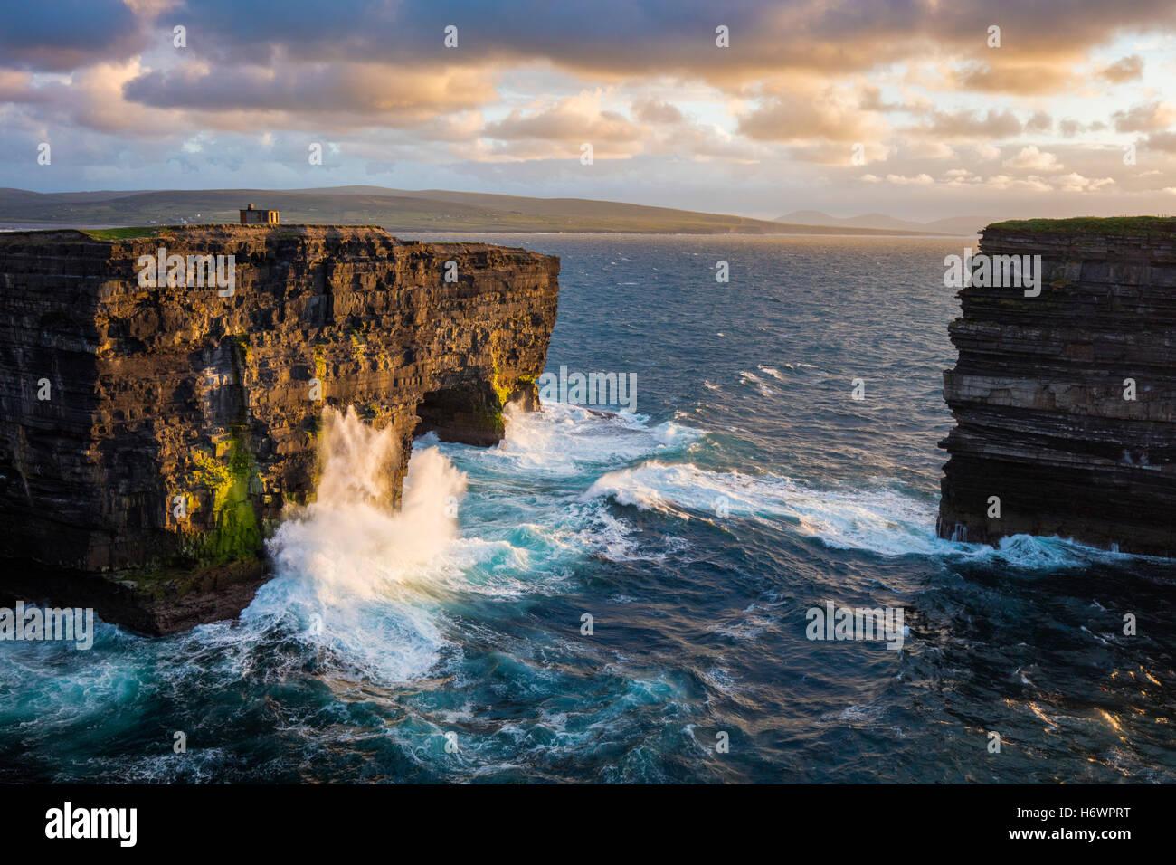 Evening at Dun Briste, Downpatrick Head, County Mayo, Ireland. Stock Photo