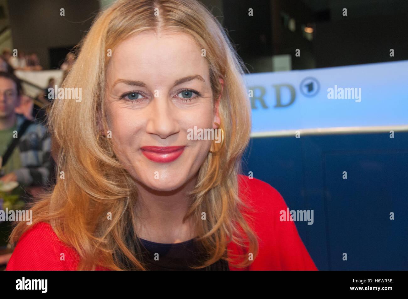 German actress Alexa Maria Surholt (In Aller Freundschaft) signed autographs after a panel about the showFrankfurt - Stock Image