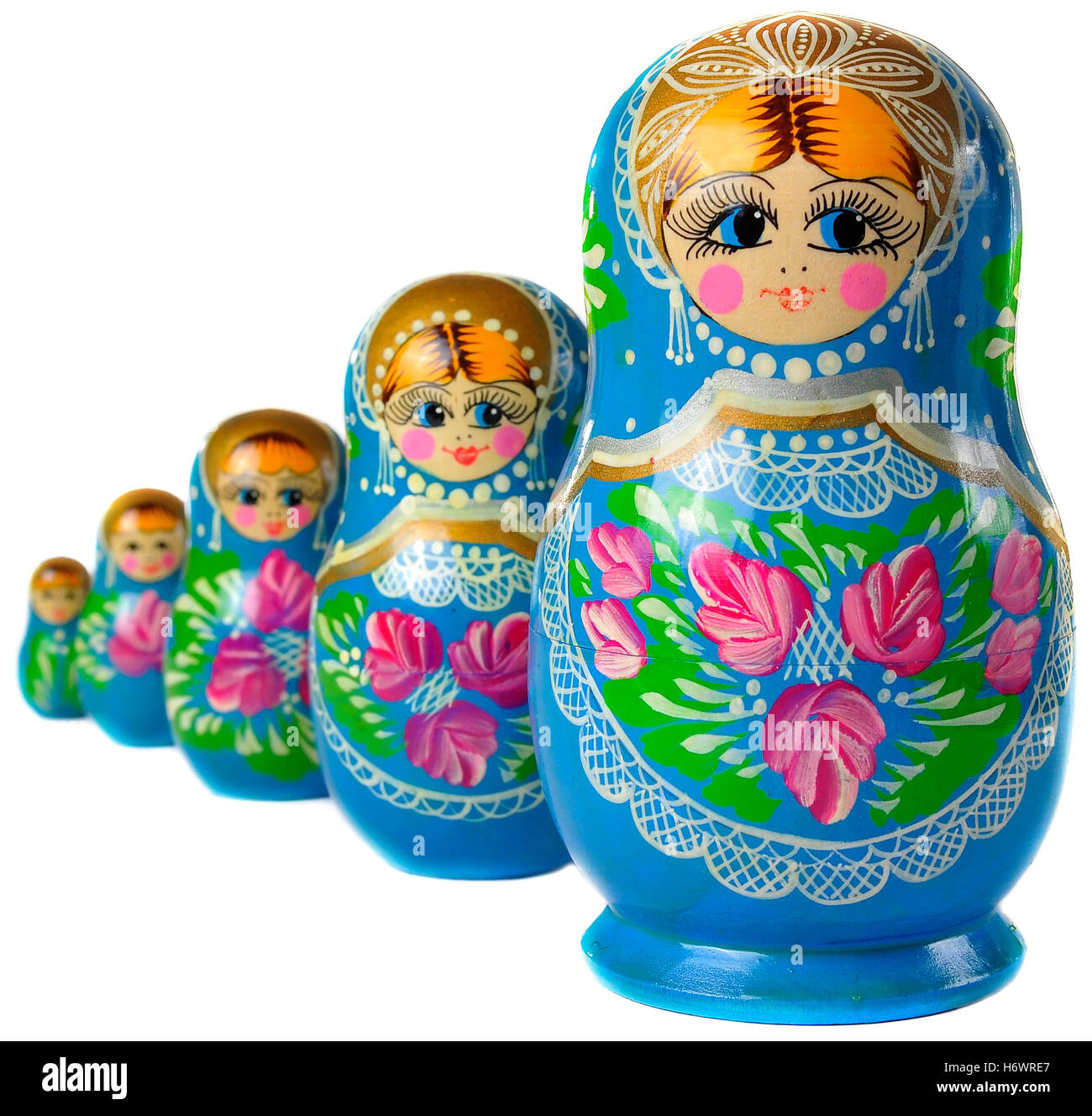 isolated wood playful toy offspring doll mother mom ma mommy growth pattern souvenir collection set figurine nested - Stock Image