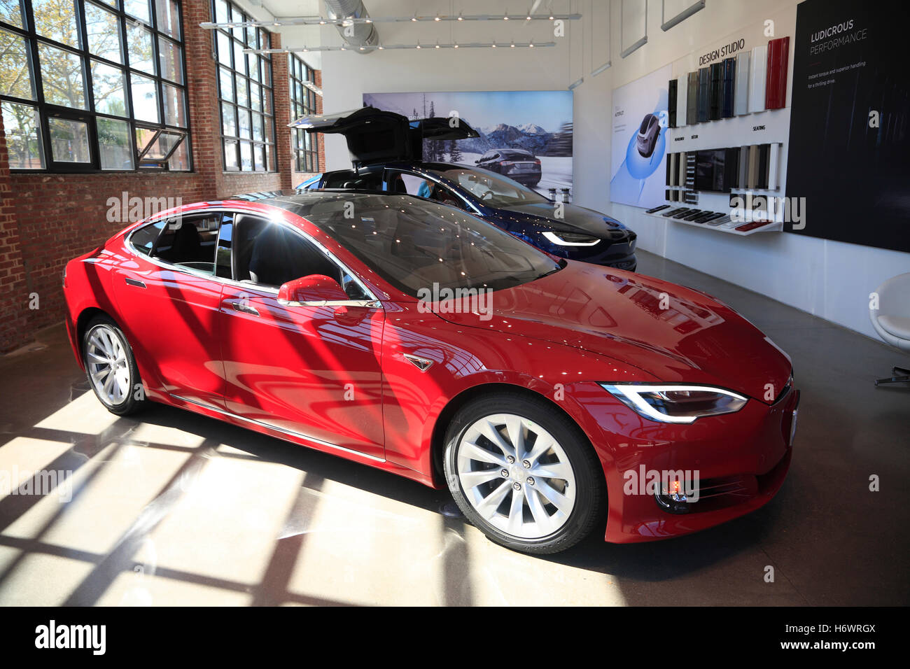 TESLA Model S in a Showroom, Red Hook, Brooklyn, New York, USA - Stock Image