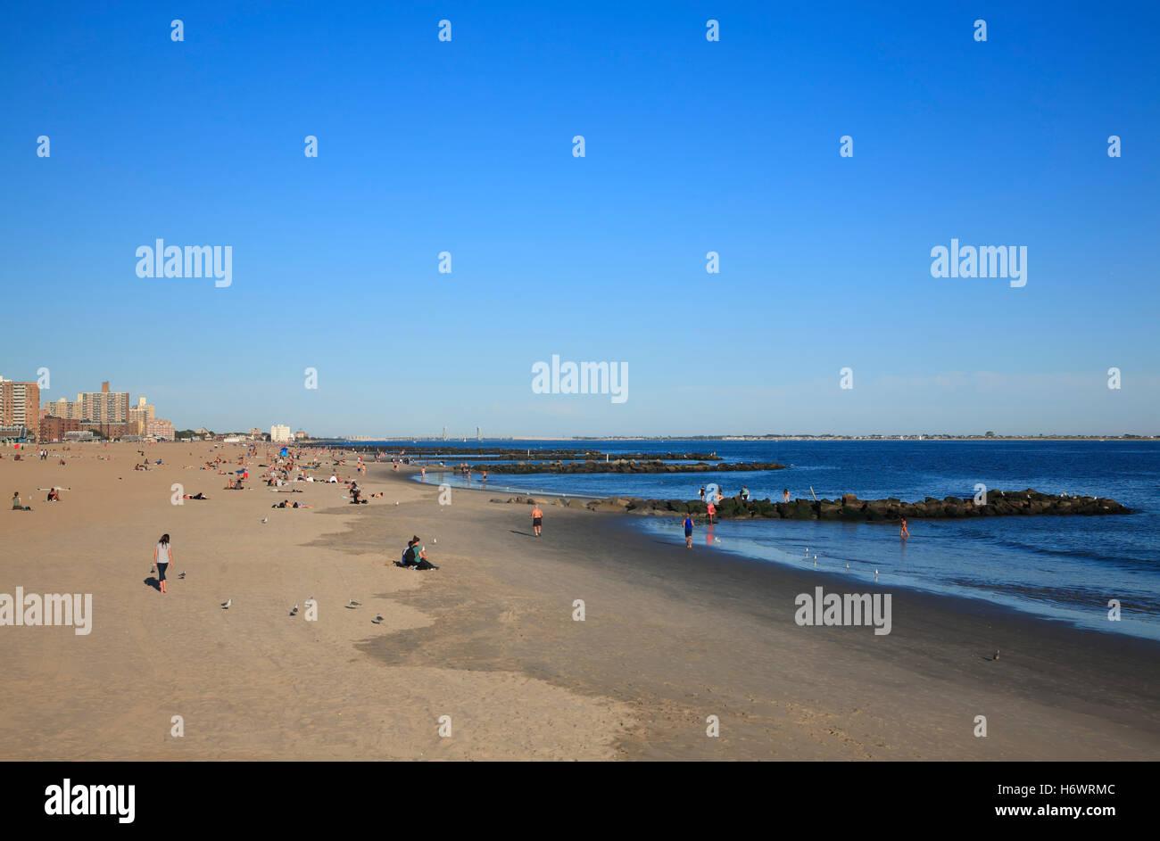 Beach, Coney Island, Brooklyn, New York, USA - Stock Image