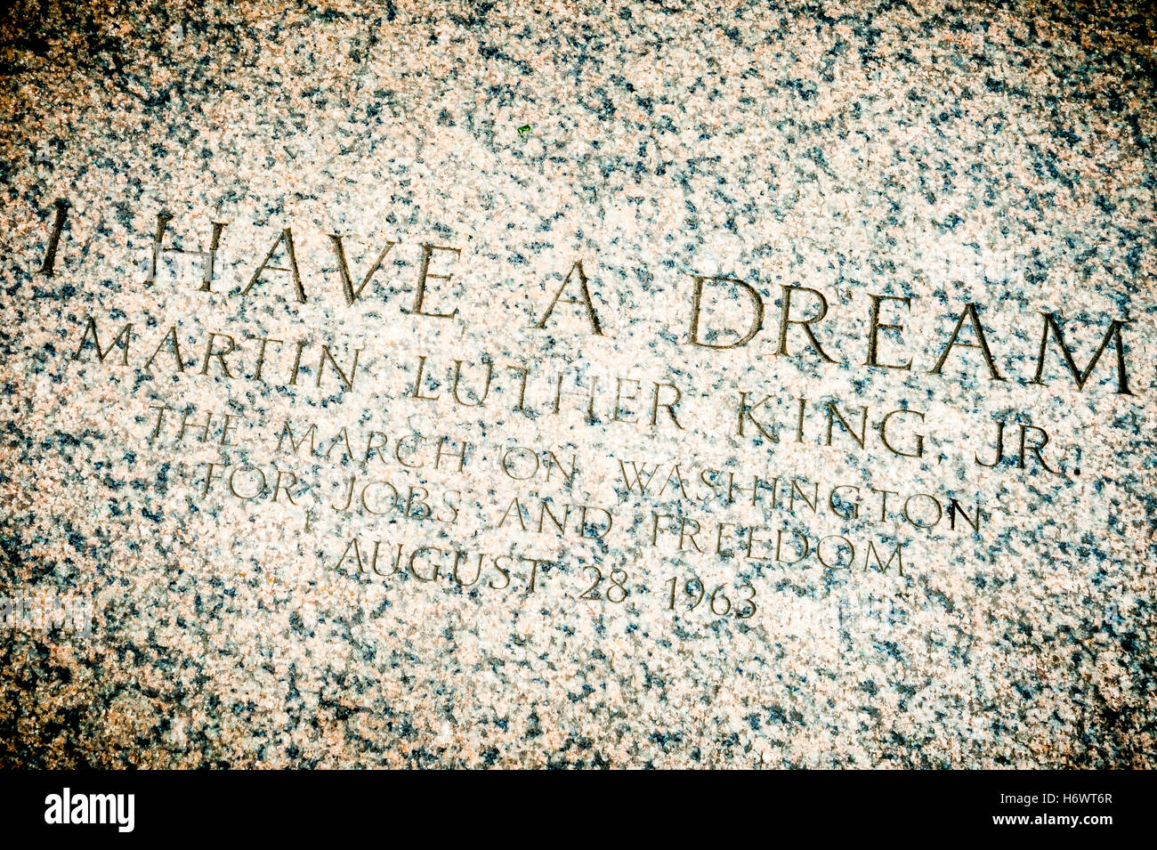 WASHINGTON DC - JULY 30, 2014: 'I Have a Dream' quote on the steps of the Lincoln Memorial memorializing - Stock Image