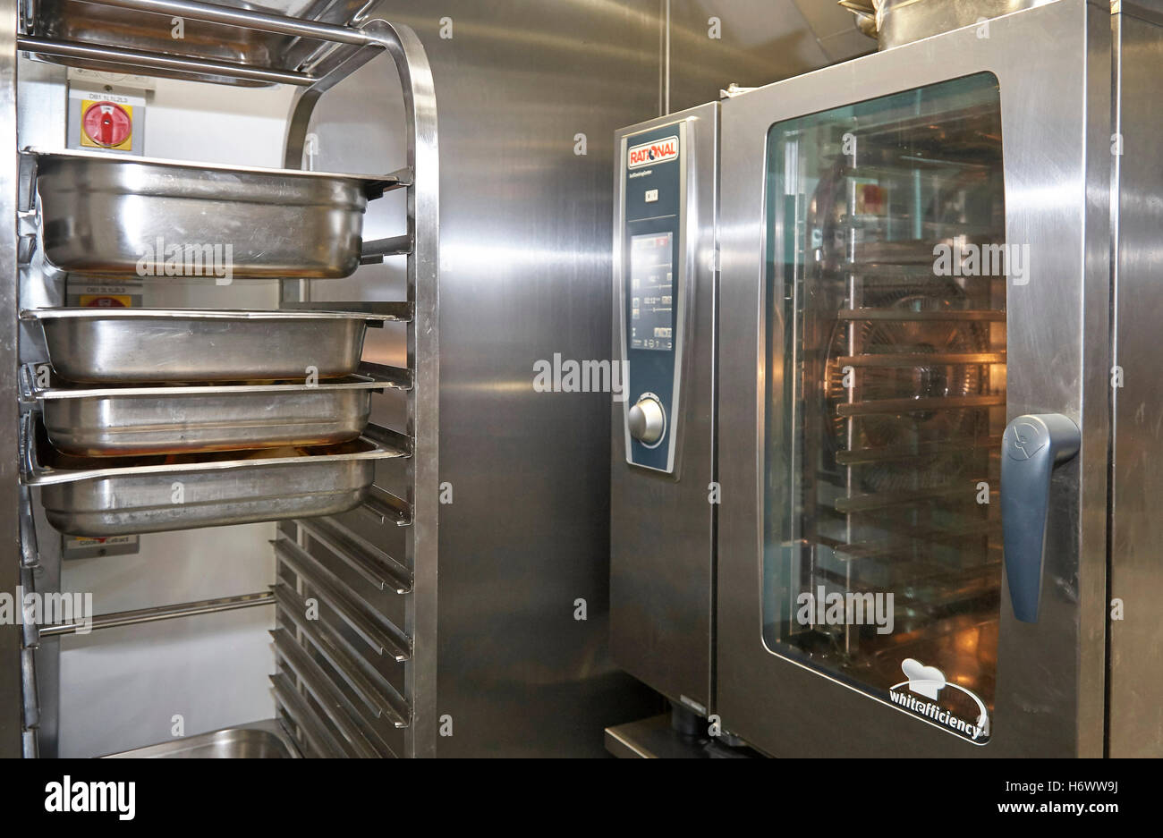 Industrial sized oven in a commercial kitchen. Stock Photo