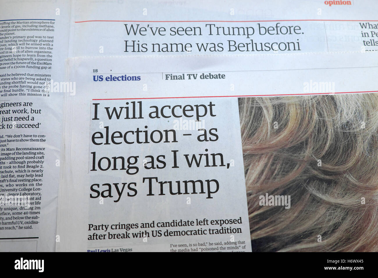 Newspaper article  'I will accept election - as long as I win, says Trump' in Guardian   2016 London UK - Stock Image