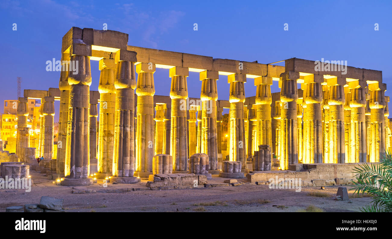 The numerous huge columns are the preserved part of the Luxor Temple, Egypt. Stock Photo
