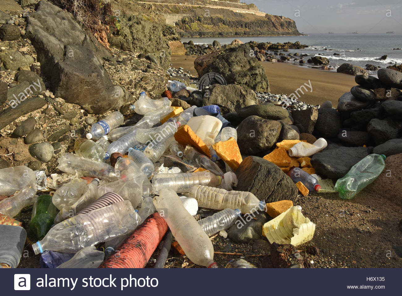 Plastic bottles litter washed up on the shore near Las Palmas Gran Canaria Canary Islands Macaronesia (Spain) - Stock Image