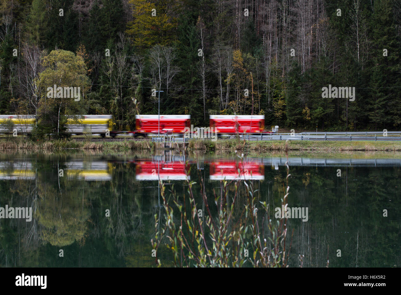 Driving Train in the Nationalpark Gesäuse, Styria, Austria - Stock Image