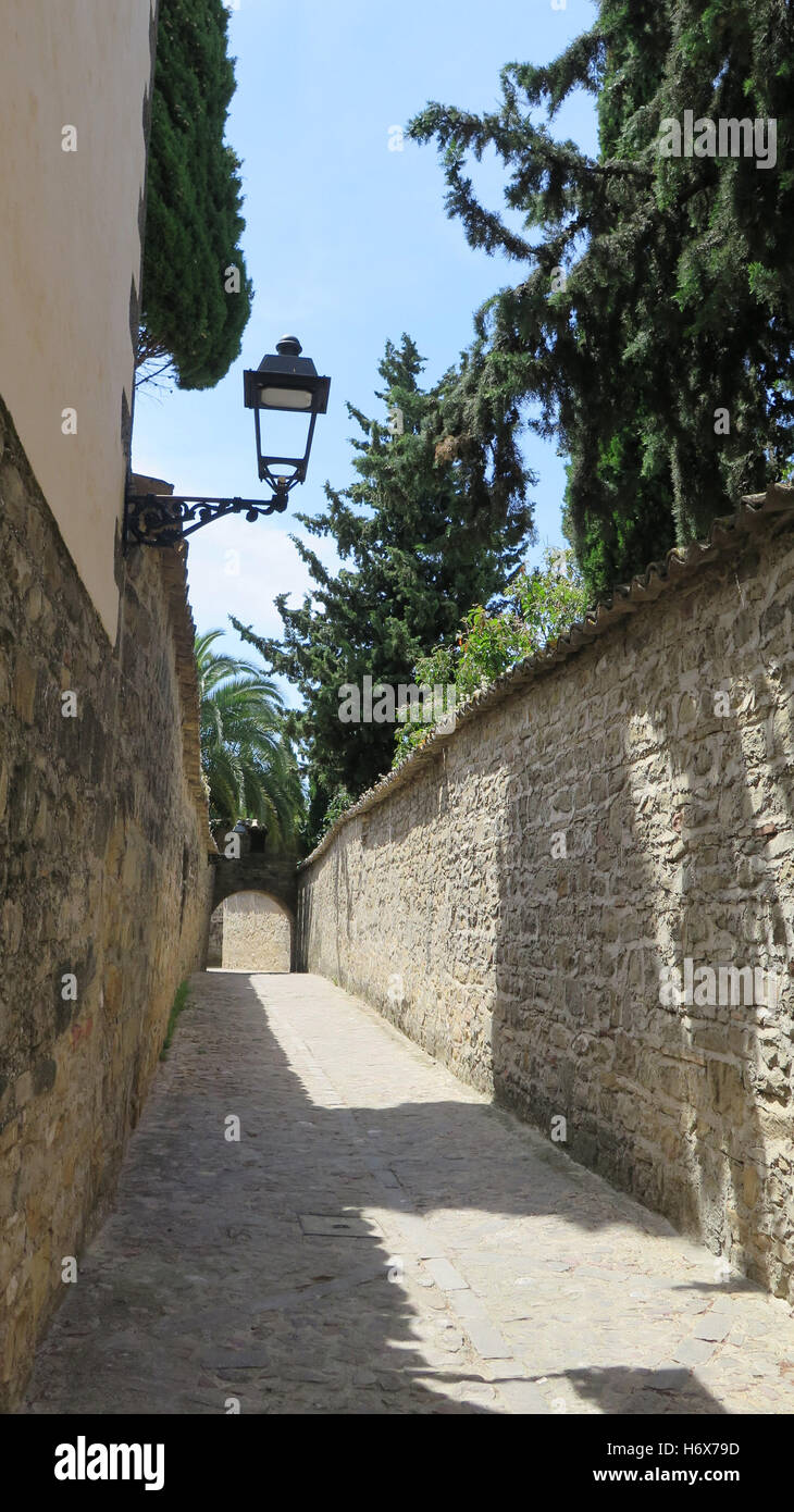 Narrow street in Baeza in province of Jaen, Andalusia - Stock Image
