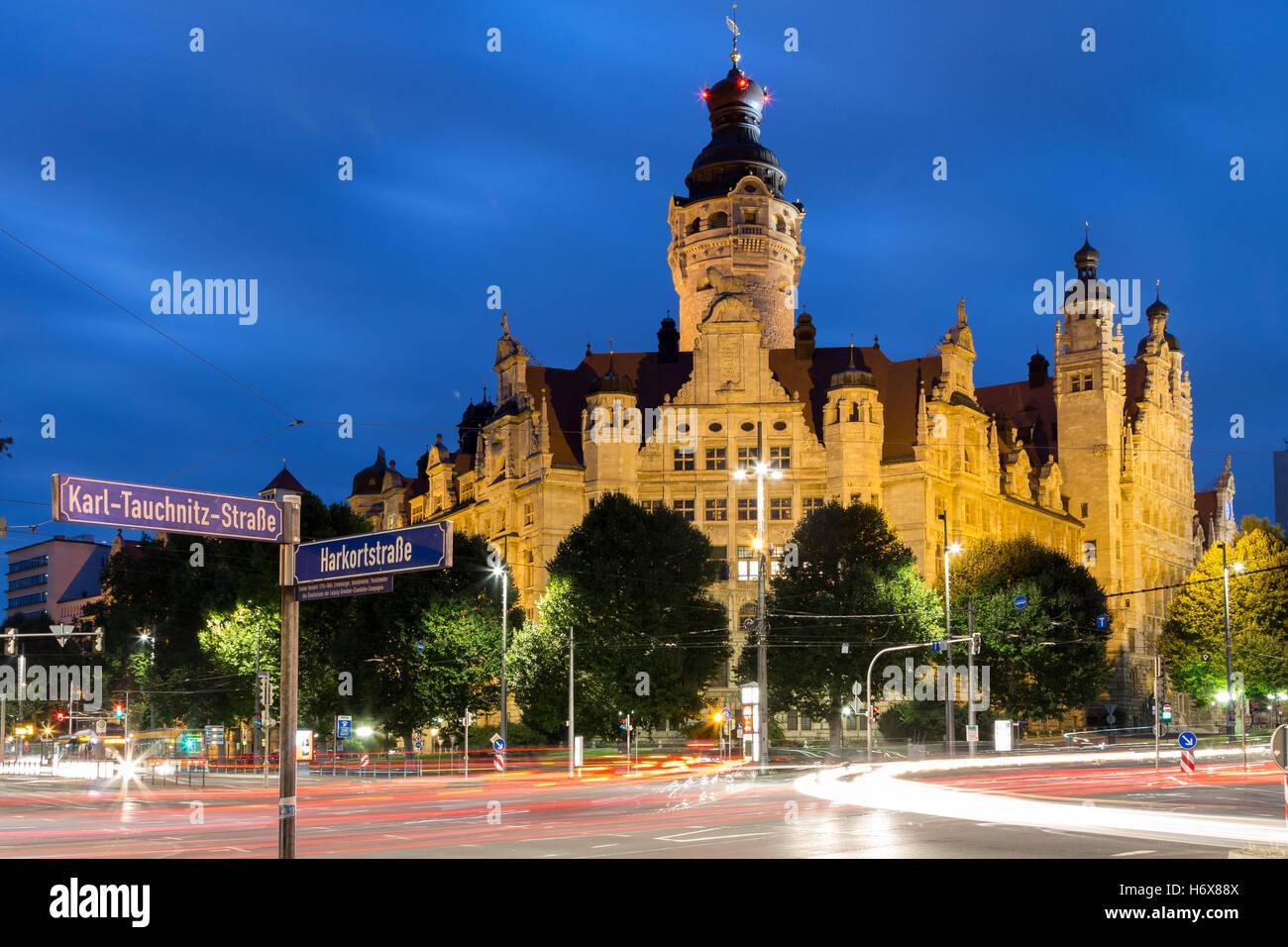 New Town Hall Leipzig Blue Hour Stock Photo Alamy