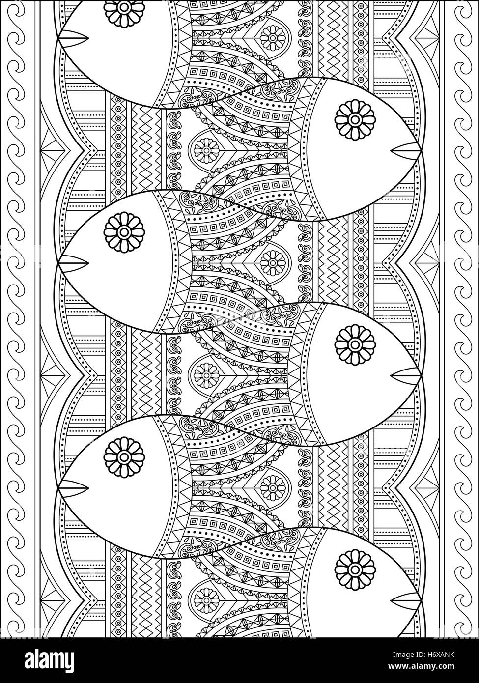 Lovely Adult Coloring Page Cute Fish With Geometric