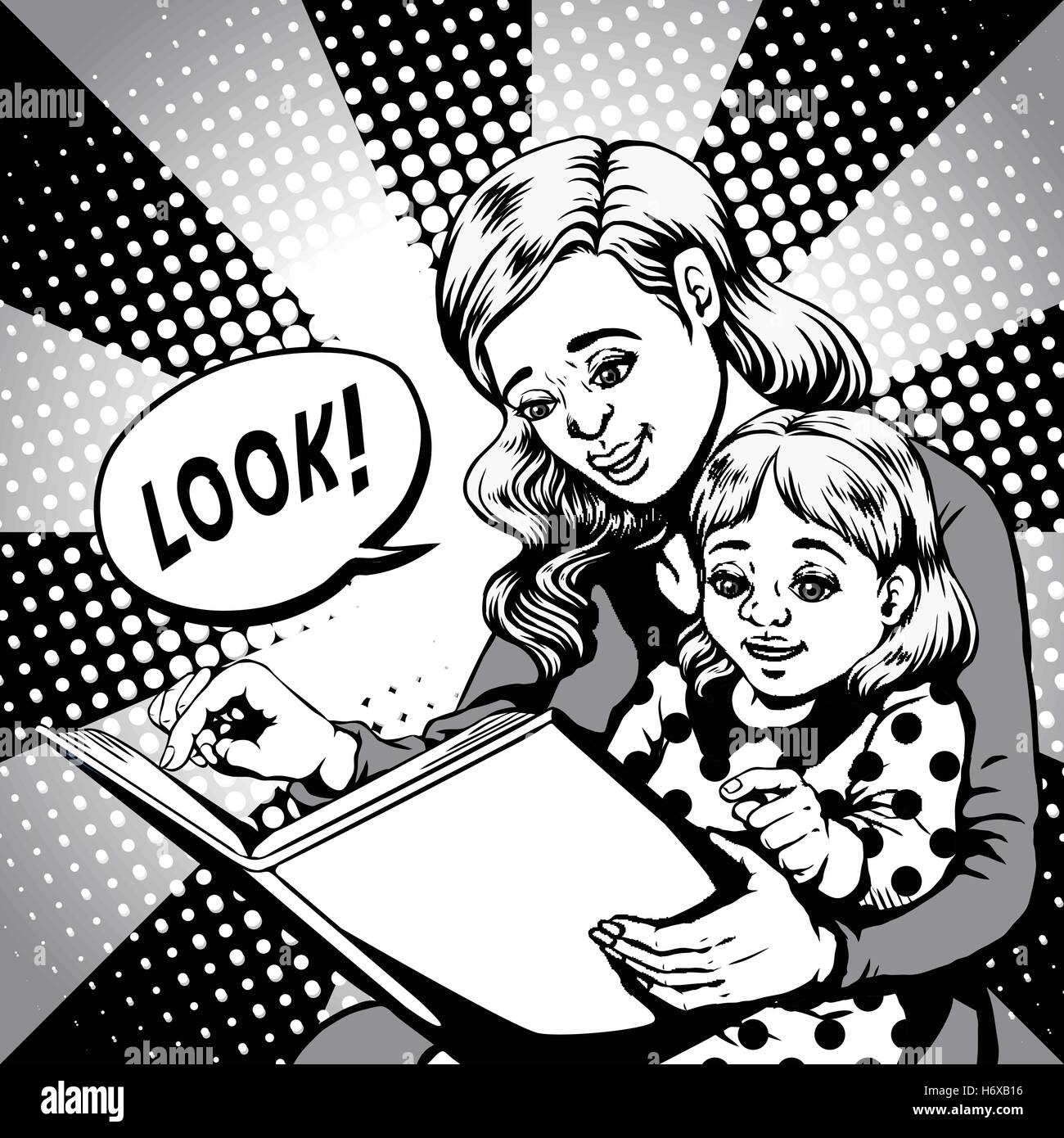 retro woman pointing to a bookpage for her daughter, comic book style speech bubble, pop art, black and white Stock Vector