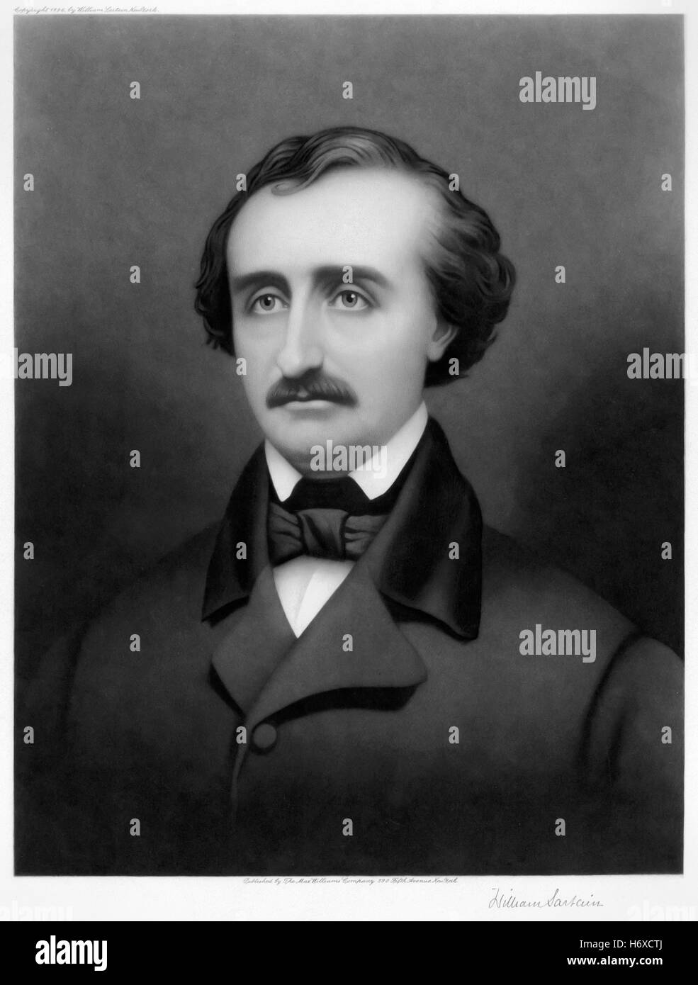 Edgar Allan Poe (1809-1849), 1896 mezzotint portrait by William Sartain (1843-1924). - Stock Image
