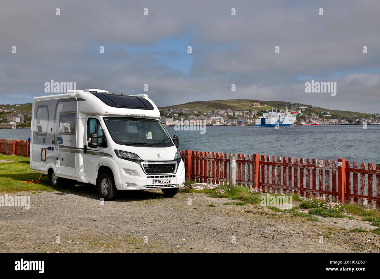 Motorhome; Point of Ness Campsite; Stromness; Orkney; Scotland; UK - Stock Image