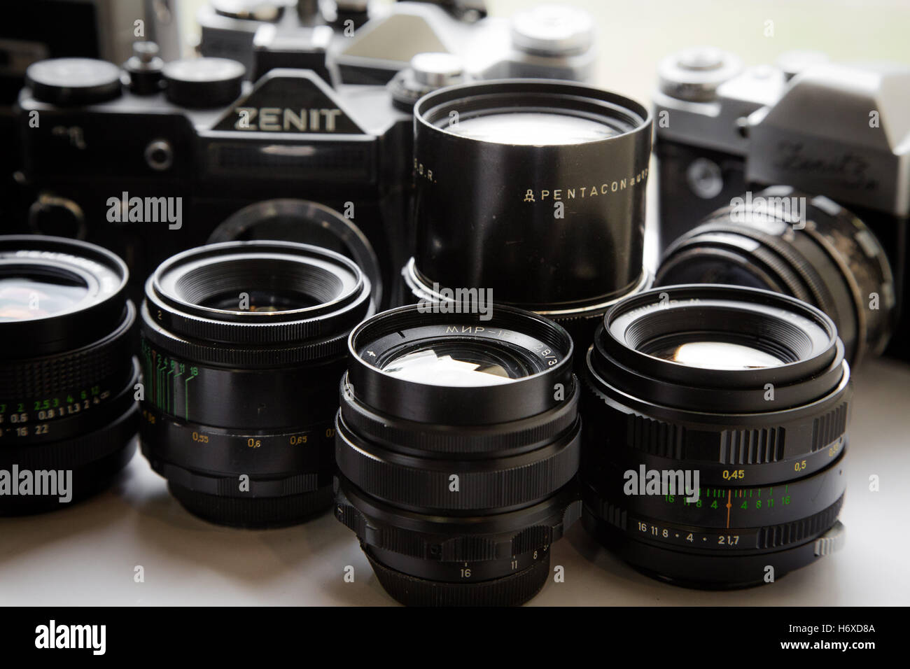 Bunch of retro cameras and lens - Stock Image