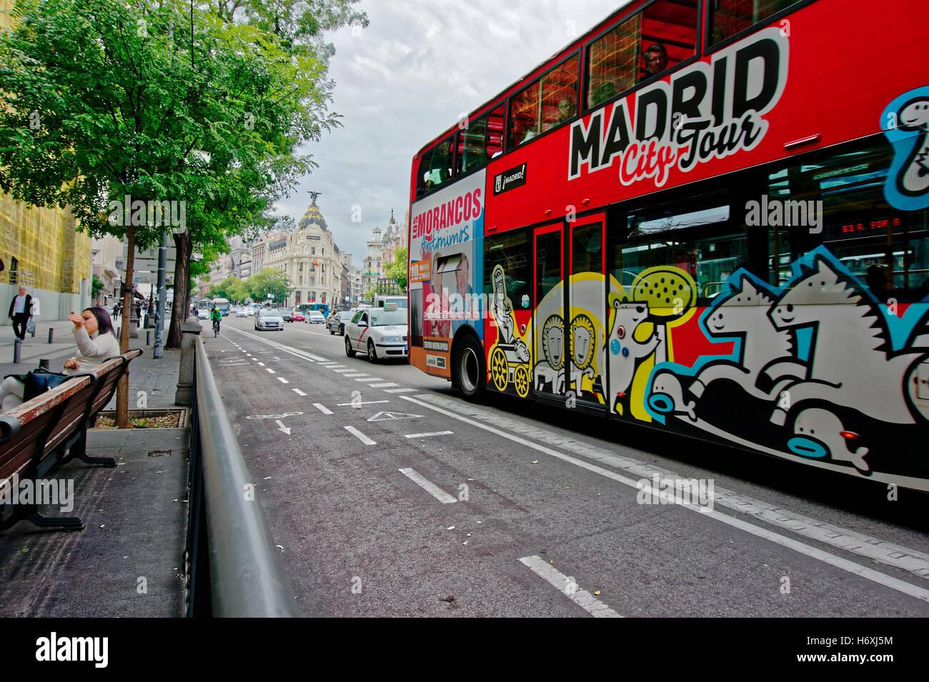 MADRID, SPAIN - OCTOBER 25, 2016: Madrid City Tour bus on the street of Alcala, Madrid, Spain - Stock Image