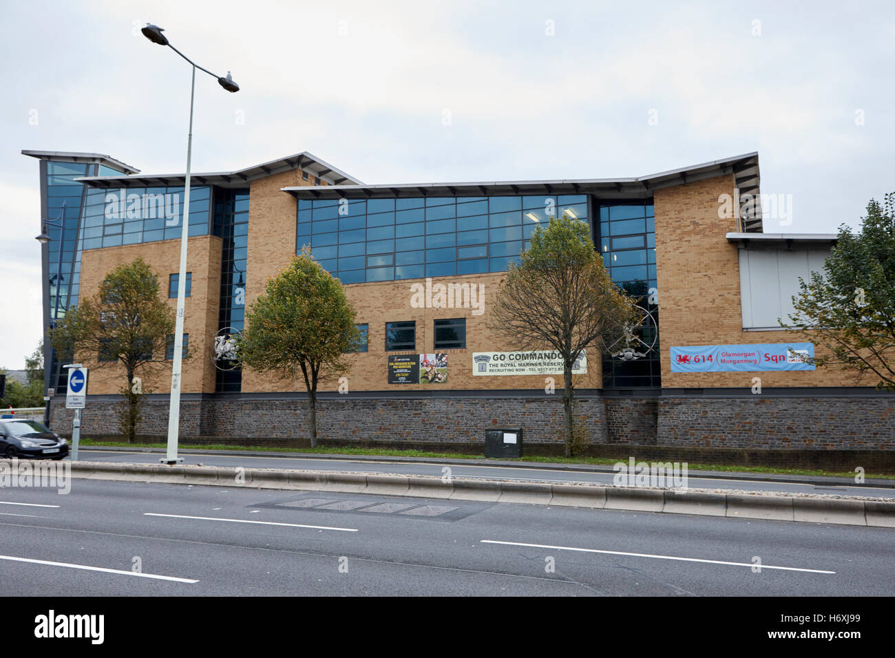 Ty Llewellyn army reserve barracks Cardiff Wales United Kingdom - Stock Image