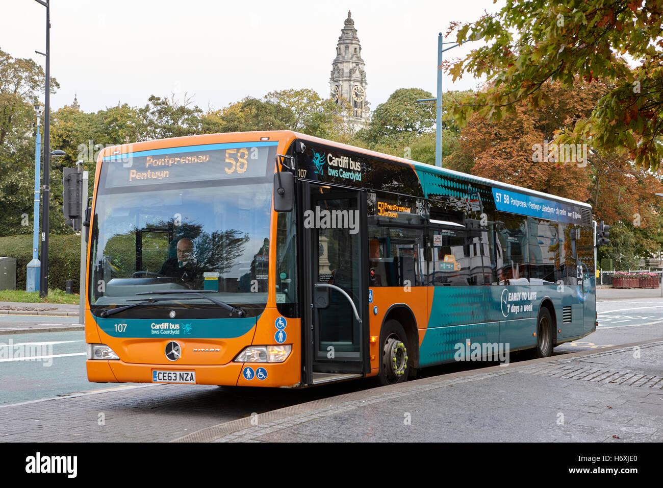 Cardiff bus public transport Wales United Kingdom - Stock Image