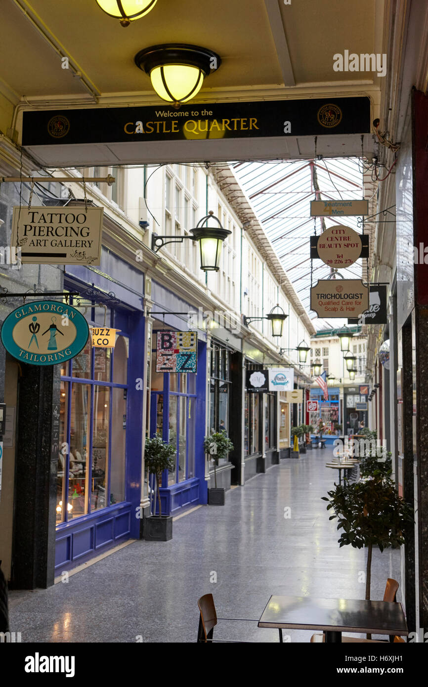 high street shopping arcade castle quarter Cardiff Wales United Kingdom - Stock Image
