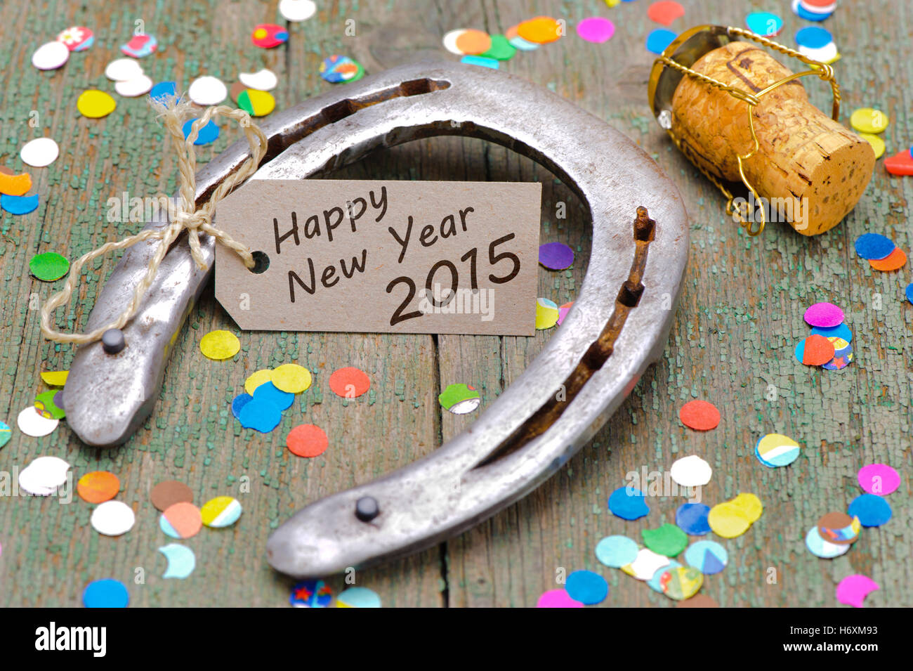 horseshoe for good luck for the new year 2015 Stock Photo